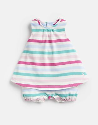 Joules 204664 Mock Layer Romper Suit in MULTI STRIPE Size 18min24m