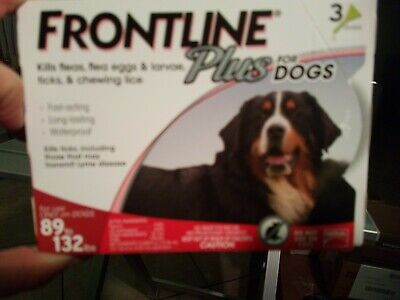 MERIAL FRONTLINE PLUS for DOGS 89-132 lbs 3 MONTH PACK DOSES FACTORY SEAL