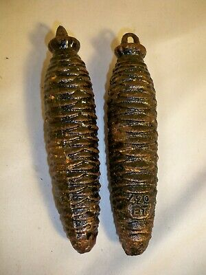 Set of 2 Cast Iron 420 Cuckoo Clock Pine Cone Weights