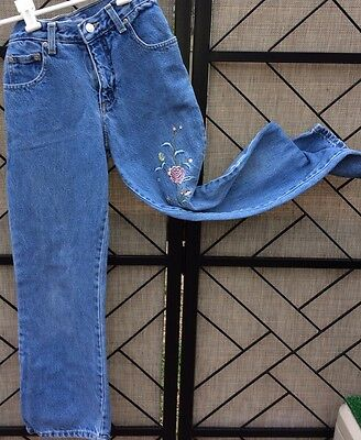 FADED GLORY Girls Blue Denim Embroidery Flowers Detail Flare Leg Jeans Sz 10
