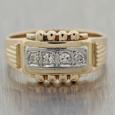1930's Antique Art Deco 14k Yellow & White Gold 0.20ctw Diamond Band Ring