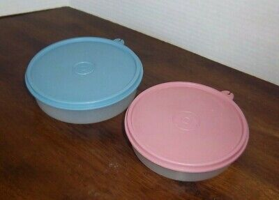 Vintage TUPPERWARE Wonder Bowls 1405 & 1551 Sheer with Blue Lid 227 Pink 238