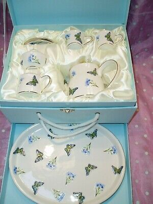 """Gracie China By Coastline Imports Blue Butterfly 10~Pc Porcelain Mini Teaset"""
