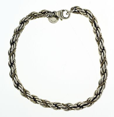 """Vintage Tiffany & Co 18k Gold Sterling Silver Twisted Rope Chain Bracelet 7.5"""""""