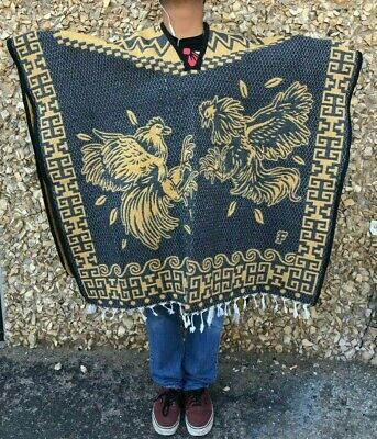 Mexican Poncho ,Pelea De Gallos , Blanket Sarape Gaban ,One Size , Gray & Yellow