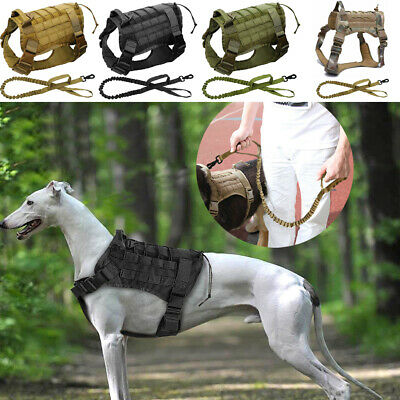 K9 Tactical Service Dog Molle Canine Harness Military Training Vest + Leash M-XL