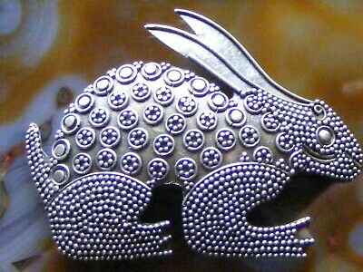 Vintage Antique Chinese Export Sterling Silver Filigree Rabbit Pin Brooch