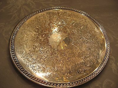 Vintage Round Silver On Copper Ornate Platter Tray Has Hallmark  Makers Mark