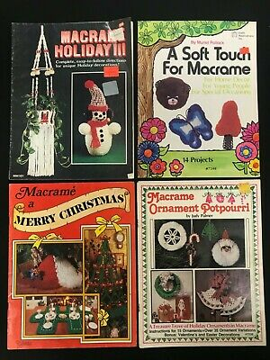 CHRISTMAS MACRAME Lot 4 bks Holiday III Ornament Potpourri Merry Christmas + vtg