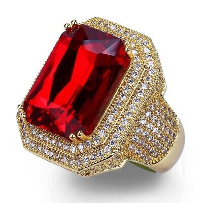 Nice Women Ruby Spinel Garnet Red Gemstone Yellow Gold Plated Ring Size 7
