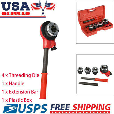 "Firm 4 Dies Manual Plumber Pipe Threading Kit 1/2"" 3/4"" 1"" 1-1/4"" Threader Tool"
