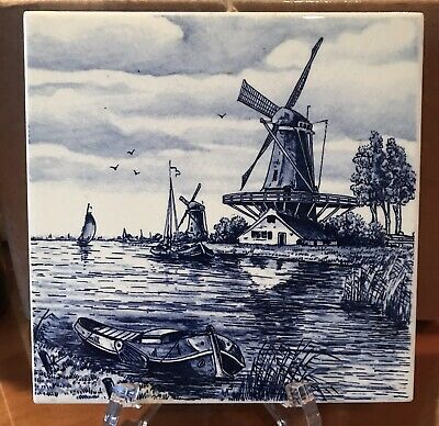 Vintage Villeroy & Boch White and Blue Dutch Windmill Ceramic 6 x 6 Tile