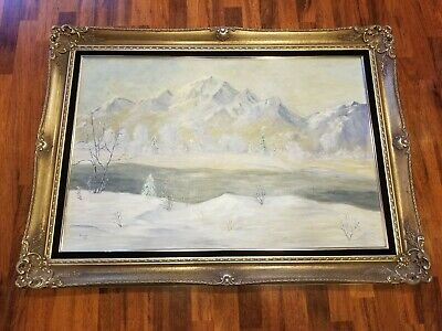 Large 20th Century Canadian Rocky Mountain Landscape Vivian '85 Painting