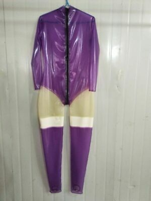 100% Latex Catsuit Gummi Zentai Purple Tigth Party Ganzanzug Anzug Suit S-XXL