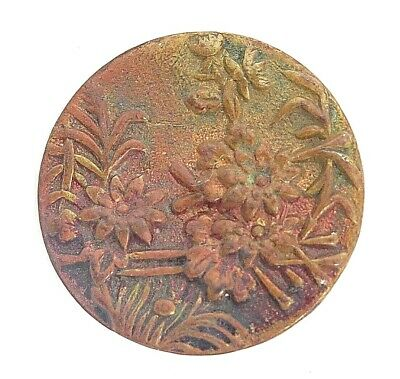 Early Victorian Old Antique Picture Button*Flower Garden Patina ONE PIECE Brass