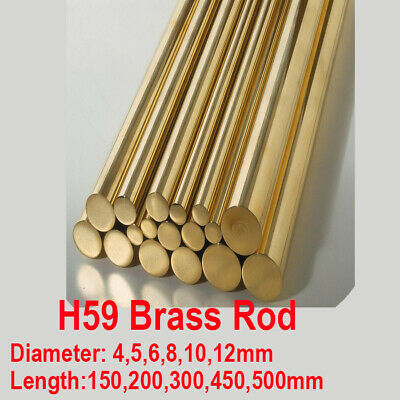H59 Brass Rod Round Brass Bar Copper Solid 4 5 6 8 10mm 150/200/450/500mm Long