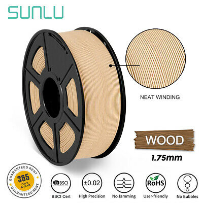 SUNLU 3D Printer Filament 1.75mm  Wood 1KG/2.2LB Spool Wooden MakerBot Neat line