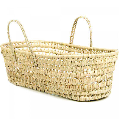 Moses Basket Woven Organic Palm Leaf For Newborns Up To 15 lbs. Or 3 Months