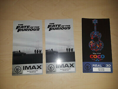 Imax Fate of the Furious Collectible Ticket 2x & Disney Pixar Coco Real D 3D 1x