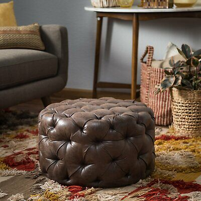 Astounding Bombay Company Round Tufted Brown Leather Paisley Stool Gmtry Best Dining Table And Chair Ideas Images Gmtryco