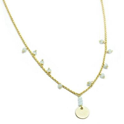 Aqua Chalcedony Beads Gemstone Yellow Gold Plated With Metal Disc Nice Necklace