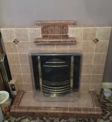 Tiled Fireplace Surround & Hearth- 1950s Retro Vintage Art Deco (?) Style