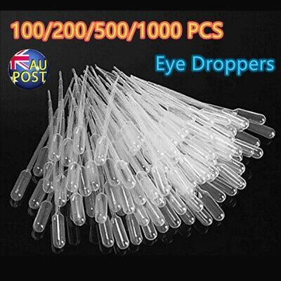 100-1000 Durable Use 3ML Disposable Plastic Eyedroppers Pipette Eye Droppers AU