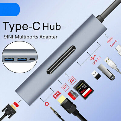 USB C Type C 3 Dock Adapter to 3.0 HUB 4K HDMI PD TF VGA for MacBook Pro Lenovo
