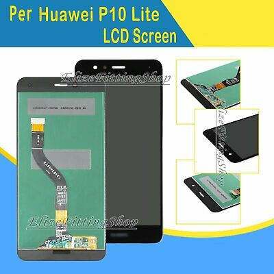 Schermo Vetro Display Lcd Screen Frame Per Huawei P10 Lite Nero Was-Lx1A  Touch