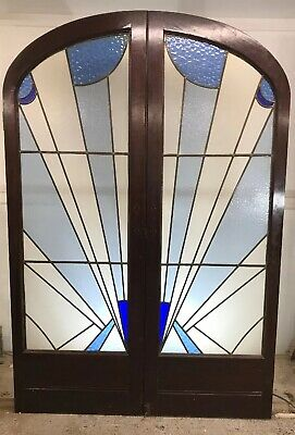 Rare Art Deco Stained Glass Doors Antique Period Reclaimed Old French Wood Lead