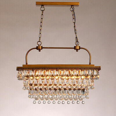 Retro Clear Glass Crystals 5-Light Rectangular Pendant Light in Antique Brass