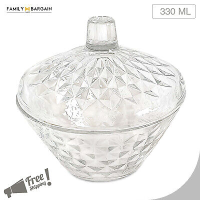 Crystal Glass Lidded Bowl for Sweets Chocolates Candies and Dry Fruits Serving