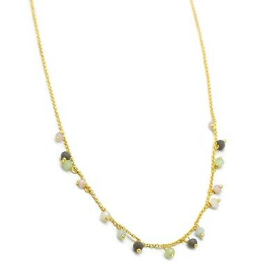 22K Yellow Gold Plated Faceted Multi Gemstone Beaded Handcrafted Nice Necklace