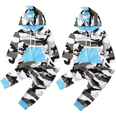 Infant Baby Boy Camo Clothes Dinosaur Hooded Tops Pants Tracksuit Outfits Set UK