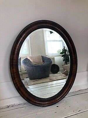 Antique Art Deco Era Large Oval Aged Wall Hung Mirror Bevelled Edge Walnut Frame