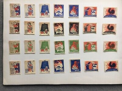 """MATCHBOX LABELS hungary VERY OLD VINTAGE """"FIRE"""" COMPLETE SET OF 28 LABELS"""