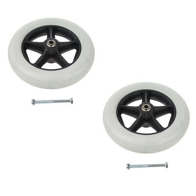 "2x Heavy Duty 8"" Polyurethane Wheelchair Front Wheel Smooth Caster Grey"