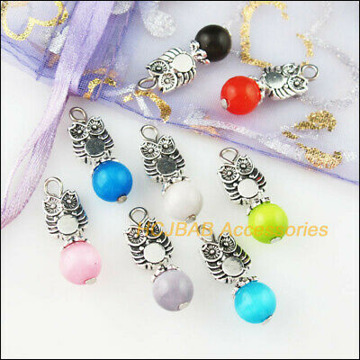 8Pcs Tibetan Silver Tone Mixed Cat Eye Stone Animal Owl Charms Pendants 8x23mm