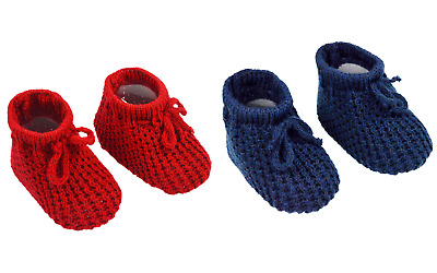 Baby Boy Girl Spanish Style Knitted Booties Newborn * Red * Navy Blue *