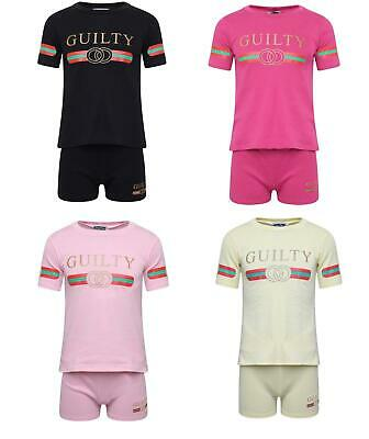 Kids Children Girls Guilty Print Two Piece Top And Shorts Set Lounge Suit 5-13