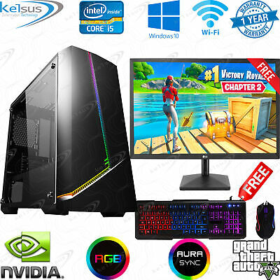 Fast Gaming PC Computer Bundle Quad Core 16GB 1TB 4GB GTX 1650 Windows 10 WIFI