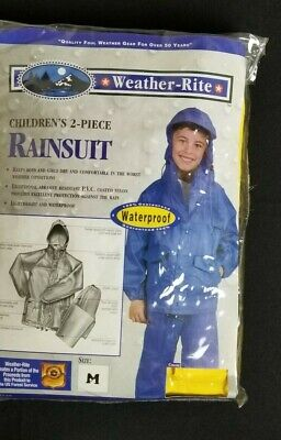 Weather-Rite Childs Rain Gear 2 Piece BLUE Hooded Rain Suit Size Medium  12-14
