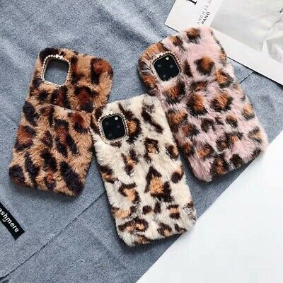 Cute Toy Warm Leopard Furry Soft Card Slot Case for iPhone 11 X MAX XR 6 7 8