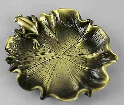 Collect China Old Copper Hand-Carved Lotus Flower & A Frog Unique Delicate Plate