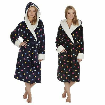 Ladies/Girls Spot Print Sherpa Fleece Hooded Robe/Dressing Gown S-XL Size 8-22