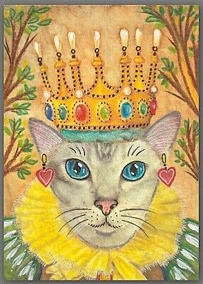 ACEO watercolor painting  - cat kitten princess crown