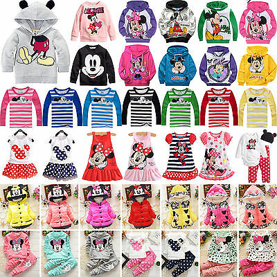 Kids Baby Girls Boys Mickey Minnie Mouse Hoodie Sweatshirt T-Shirt Tops Outfits