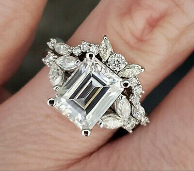 4.28ct Emerald cut Engagement Wedding Band Diamond Ring Solid 14k white Gold