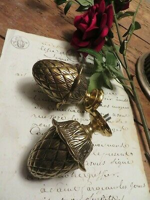 Super Pair Of Vtg. French  Heavy Solid Brass Artichoke Finials ~Period Projects