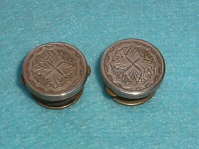 Antique VICTORIAN ORNATE STERLING SILVER FACED PAIR OF BACHELOR STUDS BUTTONS